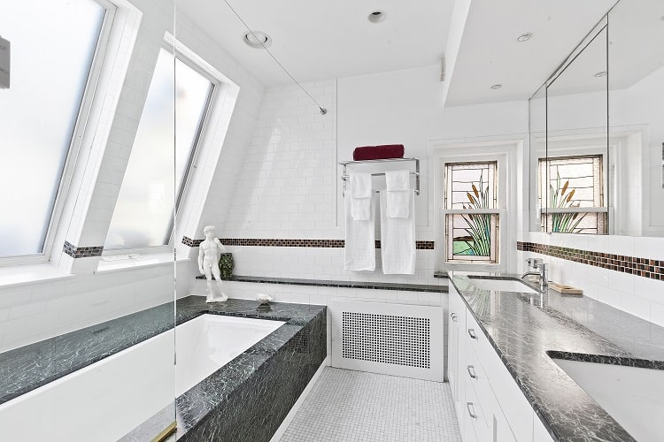 bathroom with skylight in brooklyn townhouse
